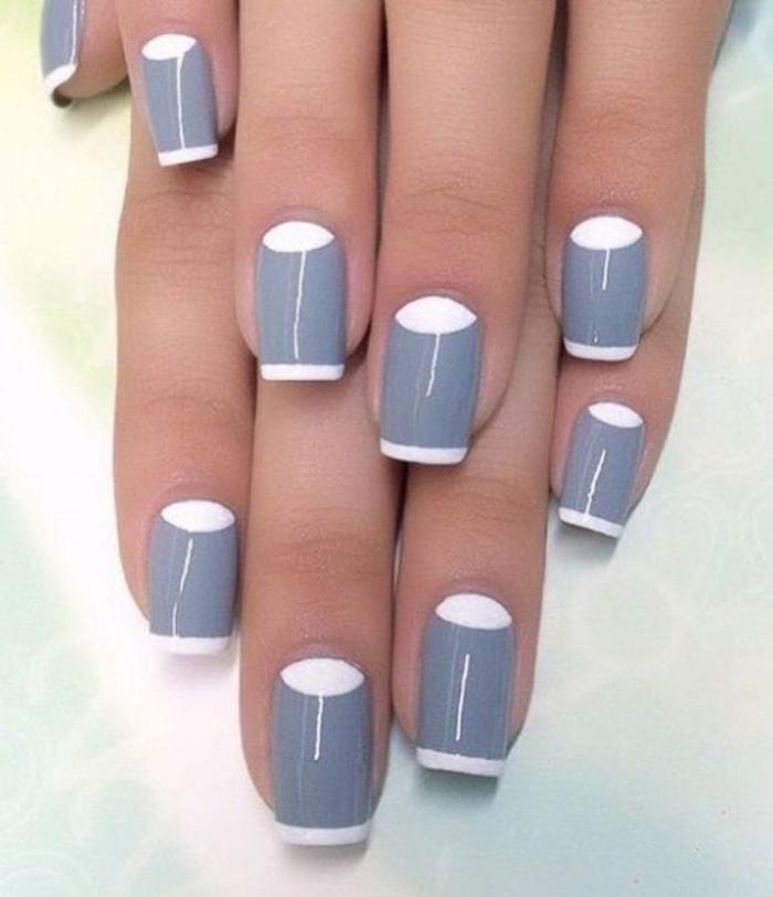 manucure-demi-lune-idée-déco-ongles-en-gris-et-blanc