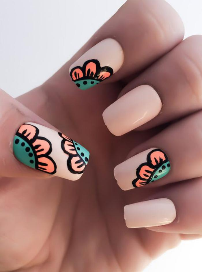 manucure-en-couleur-nude-nail-art-grafitti-couleurs-d'été