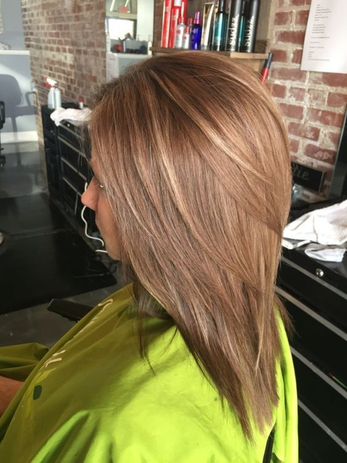meche blonde et caramel sur cheveux chatain - Coloration Meche Blonde