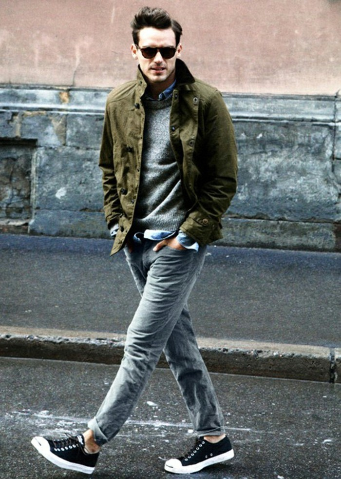 mens-style-how-to-wear-faded-denim-jeans-converse-purcells-grey-sweater-denim-shirt-army-green-jacket-sunglasses-resized