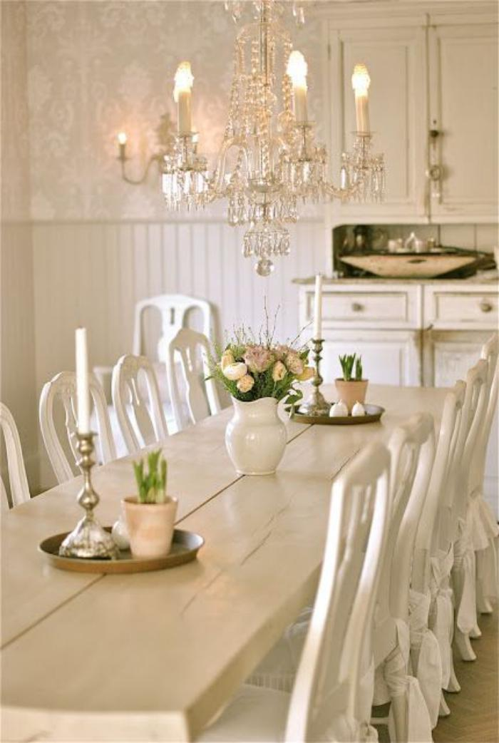 meubles-shabby-chic-style-rétro-salle-à-manger(blanche