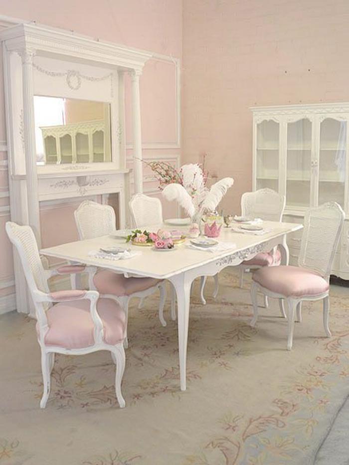 meubles-shabby-chic-déco-salle-à-manger-rose-et-blanche