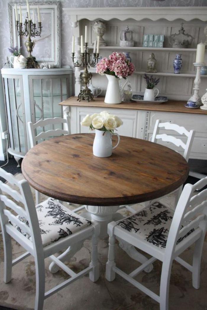 D co et meubles shabby chic dans la salle manger for Table style campagne chic