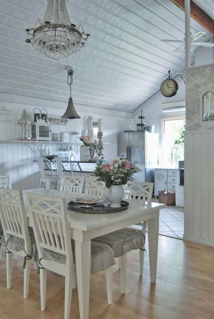 Style shabby chic d 233 best free home design idea for Table salle a manger shabby chic