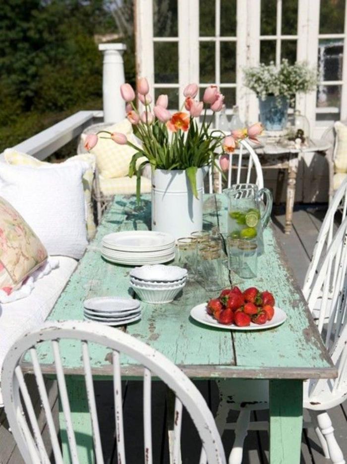 meubles-shabby-chic-salle-à-manger-table-verte-menthe