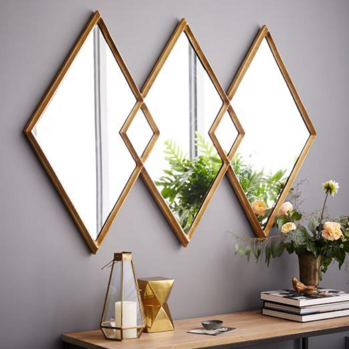 miroir-design-triptique-miroir-rombs-cadre-doré