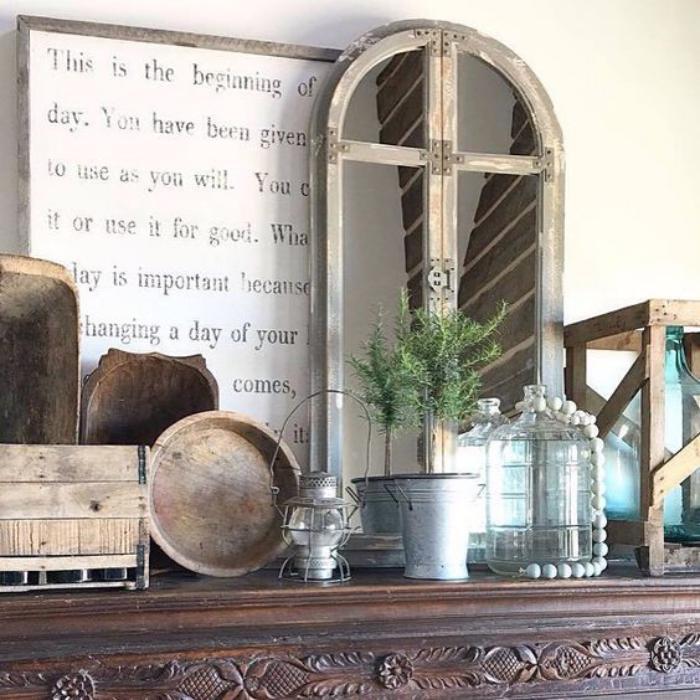 miroir-fenêtre-miroir-arché-cadre-bois-patiné