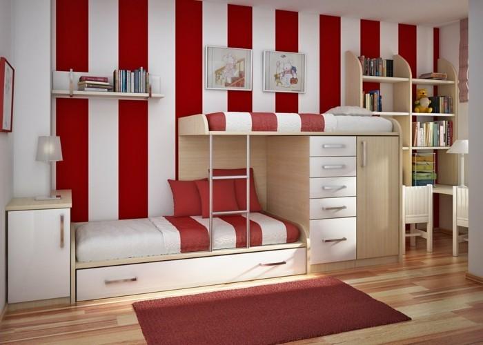 peinture-chambre-à-rauyrues-rouges-et-blancs-lits-superposés-idee-deco-formidable