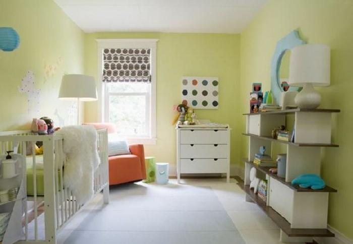 peinture-chambre-bebe-vert-meubles-blancs-une-chambre-très-commode