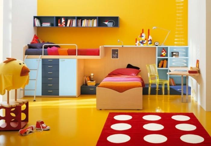 peinture-chambre-enfant-jaune-revêtement-sol-jaune-couleurs-chaudes-accueillants-et-joyeuses
