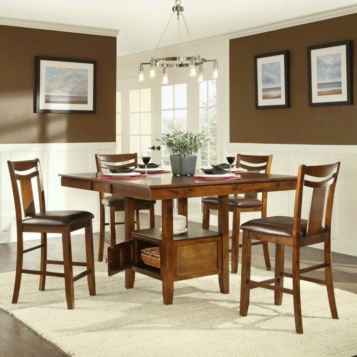 peinture-salle-à-manger-marron-table-en-bois-chaises-en-bois-et-cuir-idee-deco-originale