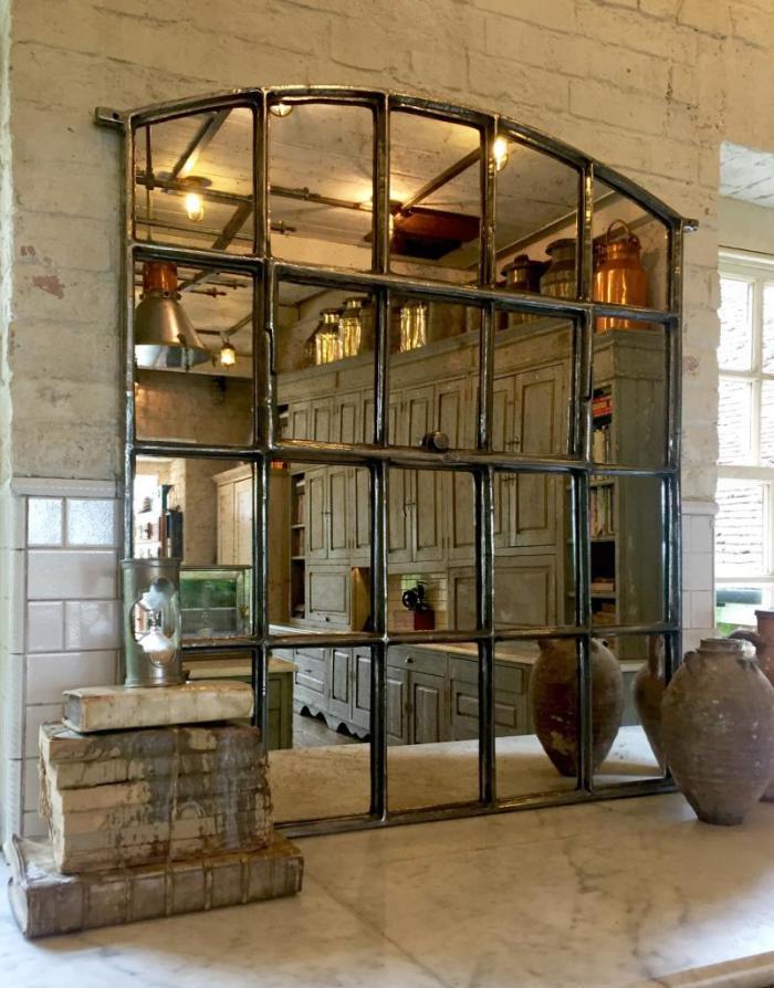 miroir-fenêtre-fer-forgé-déco-vintage