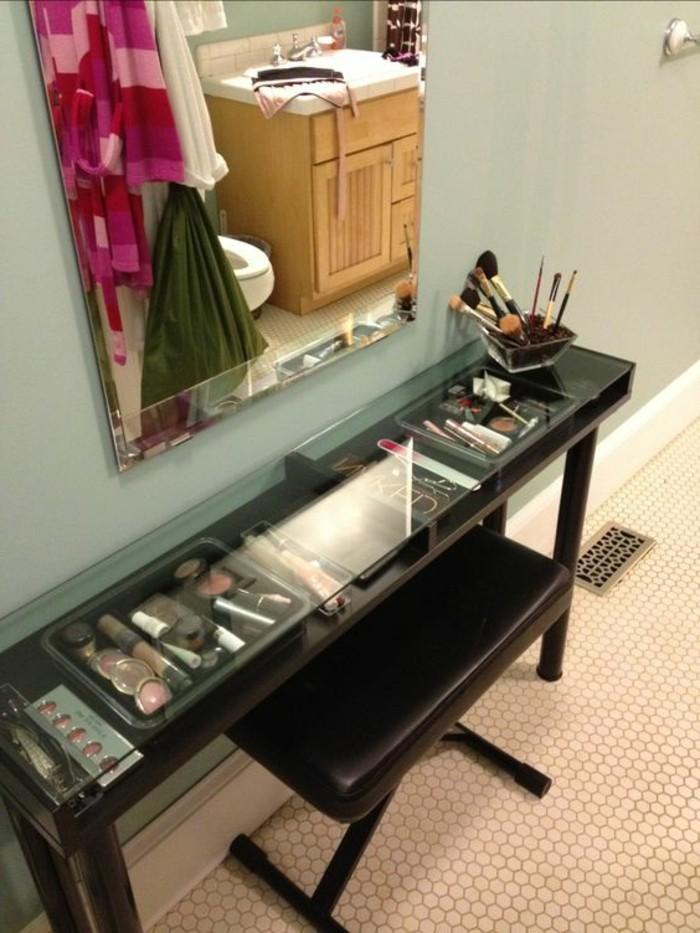 rangement-maquillage-ikéa-idée-rangement-sol-en-mosaique-banc-idee-rangement
