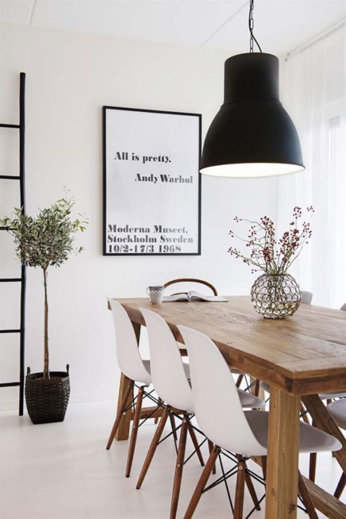 salle à manger scandinave, table bois design scandinave