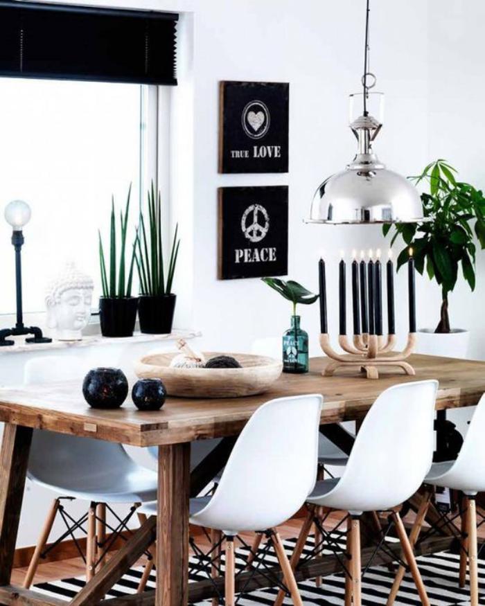 salle-à-manger-scandinave-tapis-à-rayures-grande-suspension-style-industriel