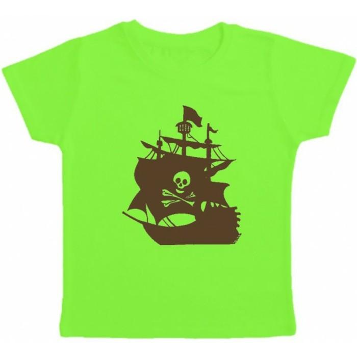 t-shirt-personnalisé-enfant-Kibule-com-vert-avec-un-bateau-pirate-resized