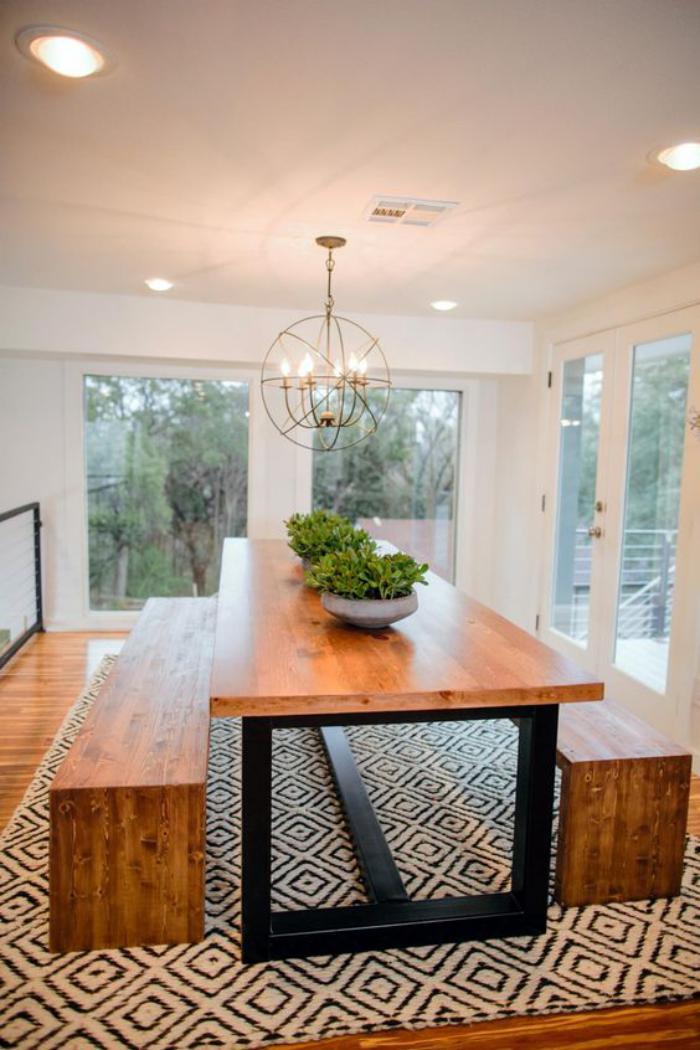 table-avec-banquette-table-bois-et-métal-avec-deux-banquettes-de-table