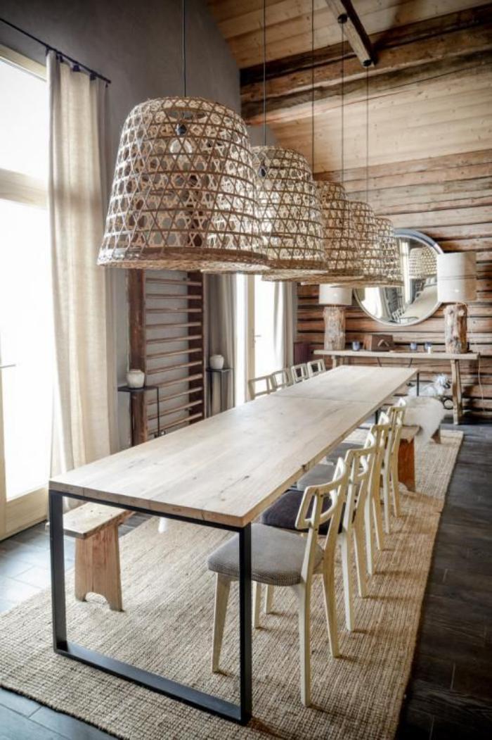 table-de-salle-à-manger-longue-industrielle