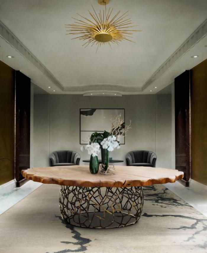 table-de-salle-à-manger-meubles-uniques-table-ronde-bois-et-fer