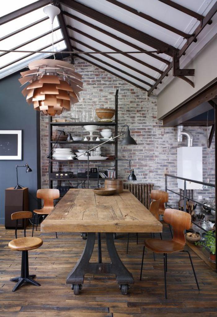 table-de-salle-à-manger-salle-à-manger-industrielle