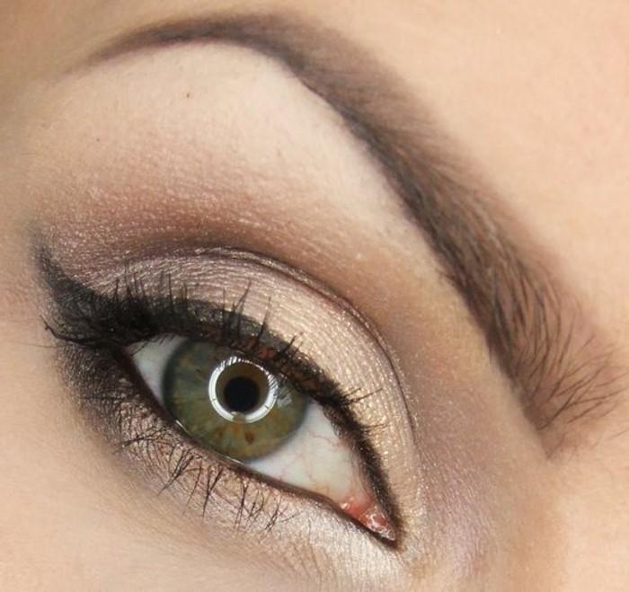 yeux-marron-vert-apprendre-a-se-maquiller-les-yeux-fard-a-paupiere-en-beige-doré