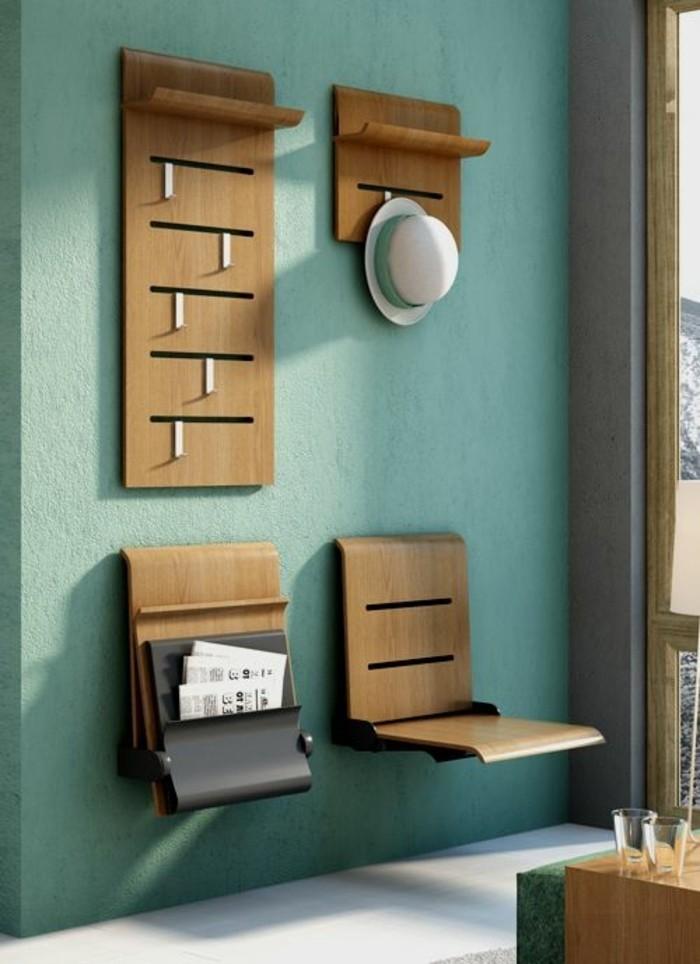 Comment sauver d 39 espace avec les meubles gain de place for Meuble mural vert