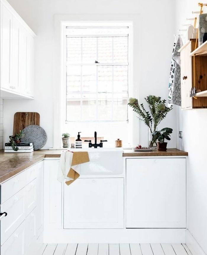 suggestion-formidable-peinture-meuble-cuisine-blanche-épuré-avec-des-accents-en-bois