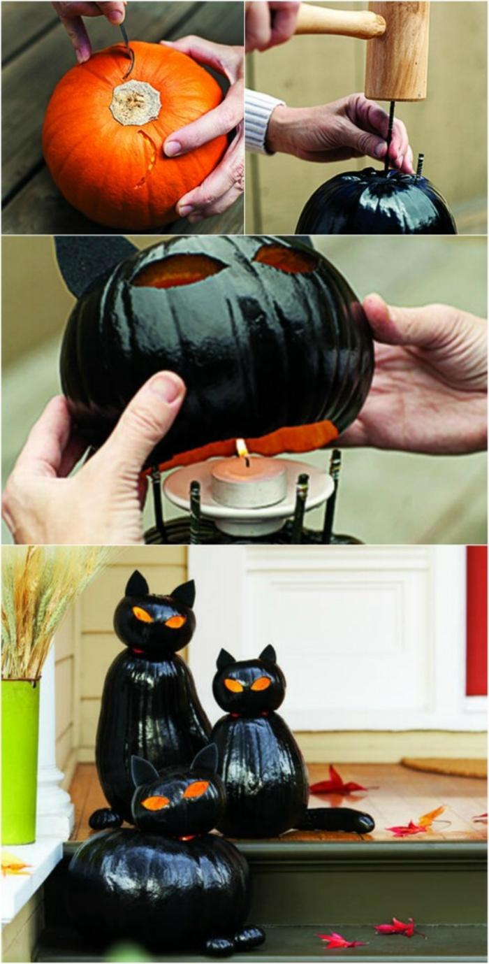 idee-bricolage-halloween-formidable-deco-composee-de-citrouilles-qui-sont-transformees-en-chats-noirs-lanternes