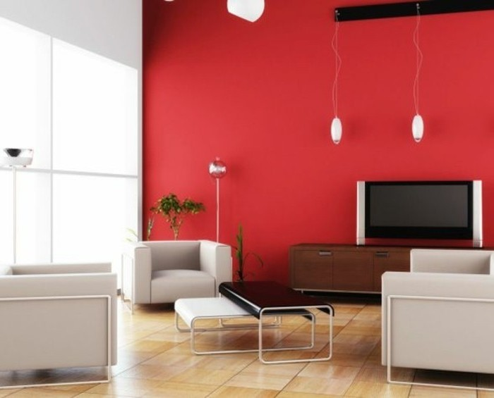 couleur-mur-salon-rouge-tables-gigognes-amenagement-salon-en-noir-et-blanc