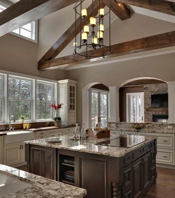 couleur-peinture-cuisine-grise-meubles-blanc-cassé-îlot-en-bois-marron-avec-des-rangements