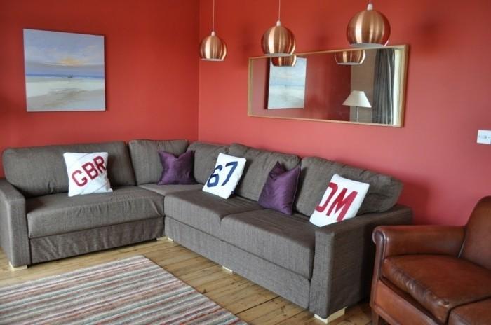 Idees Interieur De Cuisine Moderne : Couleur peinture salon rouge Magnifique cheminée en pierre Salon au