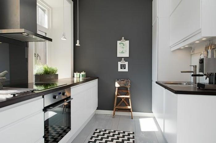 idée couleur peinture cuisine intéressante, cuisine en blanc et gris ...