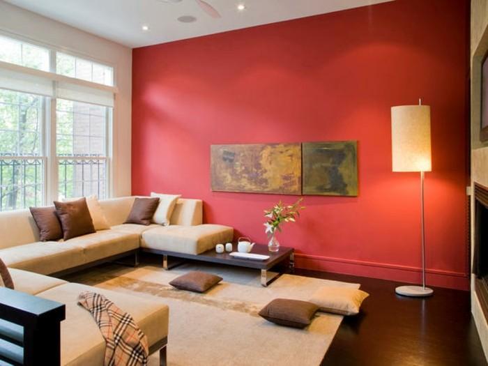 wohnzimmer beige rot:Couleur peinture salon rouge. Magnifique cheminée en pierre. Salon au