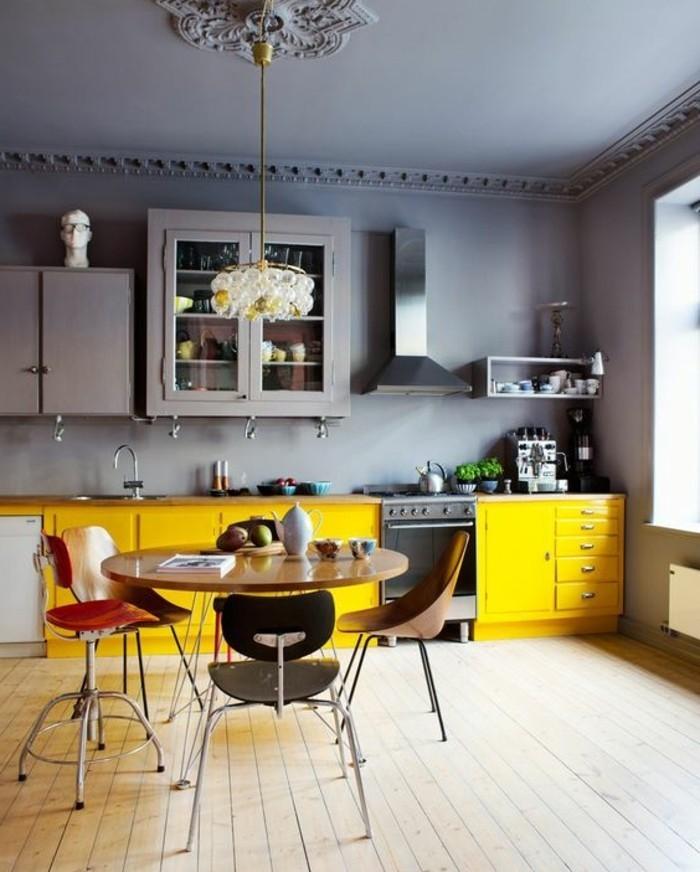 Idee Deco Salle De Bain Home Staging : magnifique design cuisine, peinture meuble cuisine jaune qui égaye l
