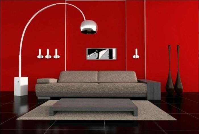 magnifique-idee-peinture-salon-rouge-meubles-gris-decor-simple-aux-lignes-epurees