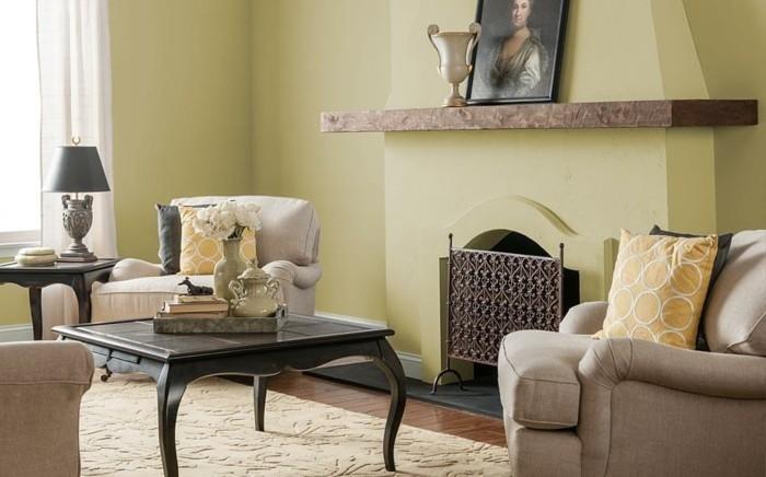 formidable-idée-couleur-peinture-salon-jaune-empreinte-d-une-nostalgie-du-passe-jolie-combinaison-style-classique-et-style-vintage