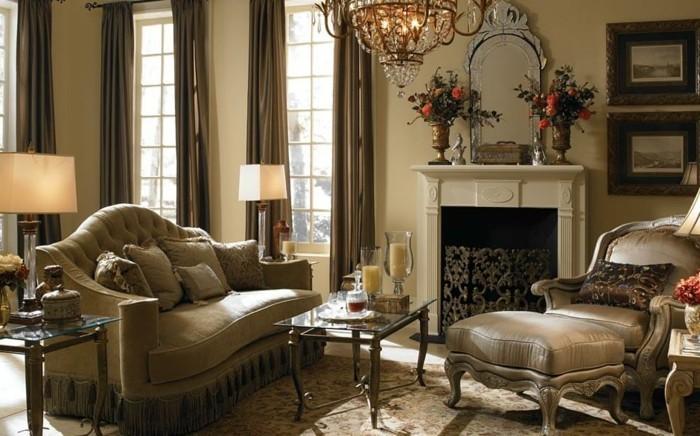 idee-peinture-salon-jaune-très-élégante-meubles-au-goût-vintage-deco-ispiree-du-baroque
