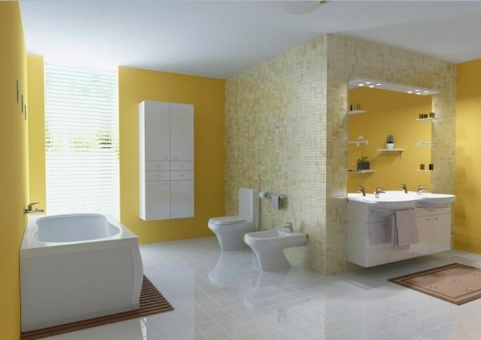 Peinture salle de bain 80 photos qui vont vous faire craquer for Moulure plafond salle de bain