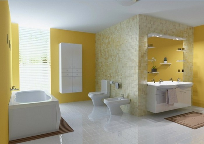 Idee Salle De Bain Studio :  salle de bain, peinture plafond blanche, meubles salle de bain blancs