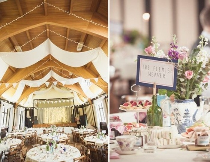3 drape plafond mariage blanc fleurs sur la - Drap Plafond Mariage