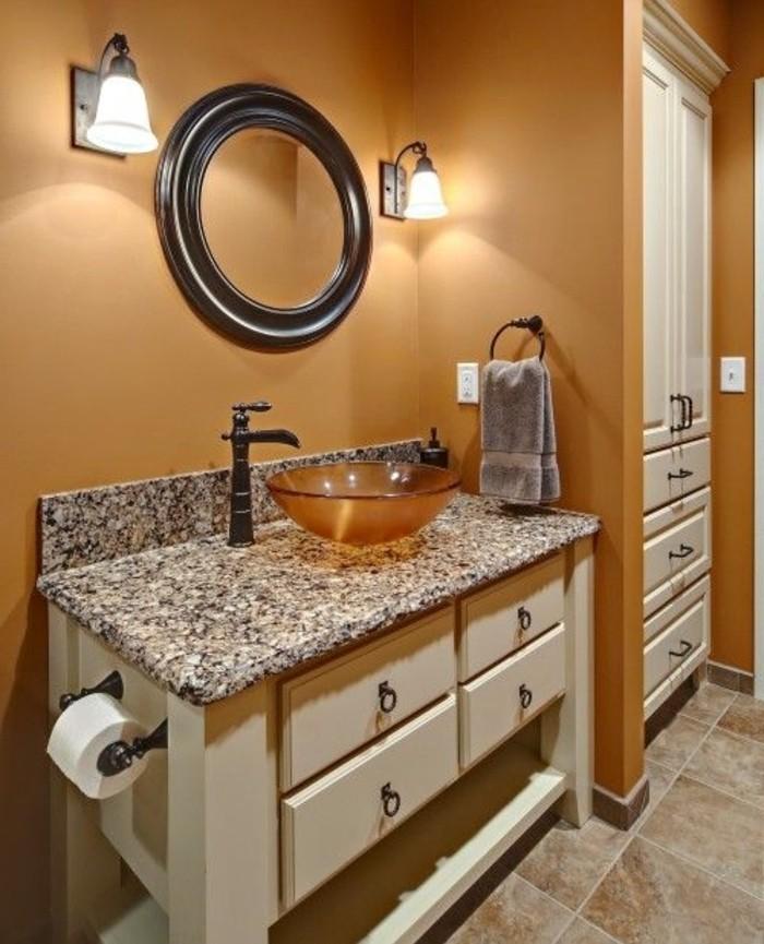 Peinture salle de bain 80 photos qui vont vous faire craquer - Meuble salle de bain orange ...