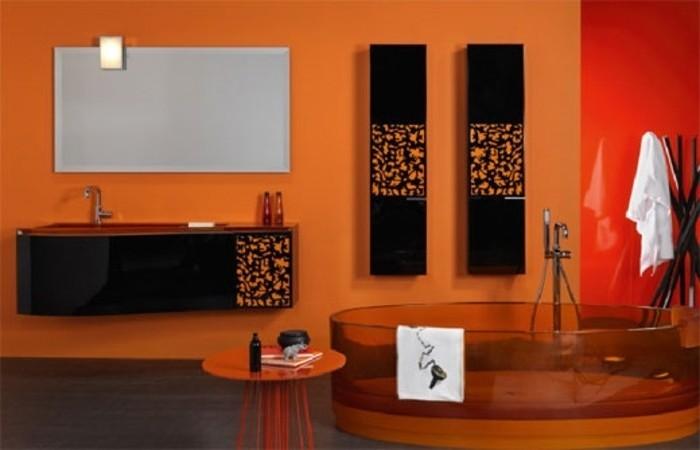 idée-très-intéressante-salle-de-bain-orange-lavabo-noir-baignoire-en-verre-orange-pharmacies-noires