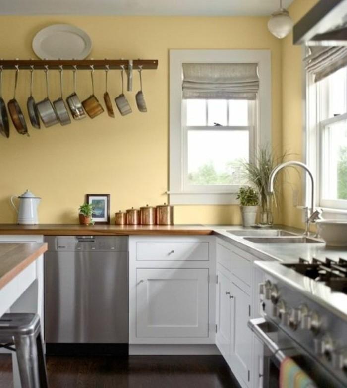 magnifique suggestion peinture cuisine jaune clair meubles en - Cuisine Peinte En Jaune