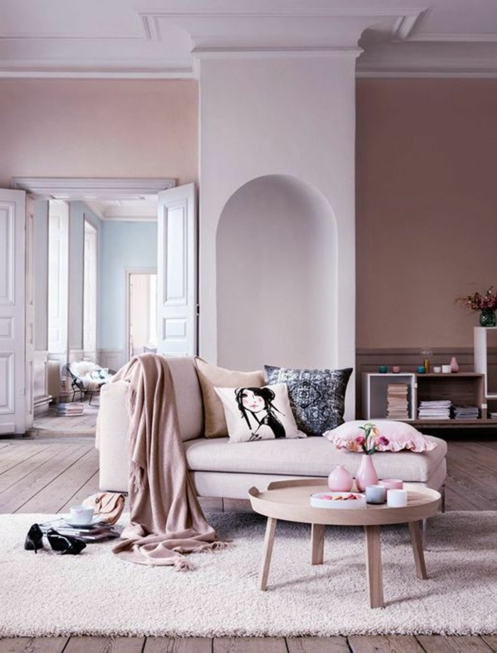 Decoration salon peinture rose - Peinture beige salon ...
