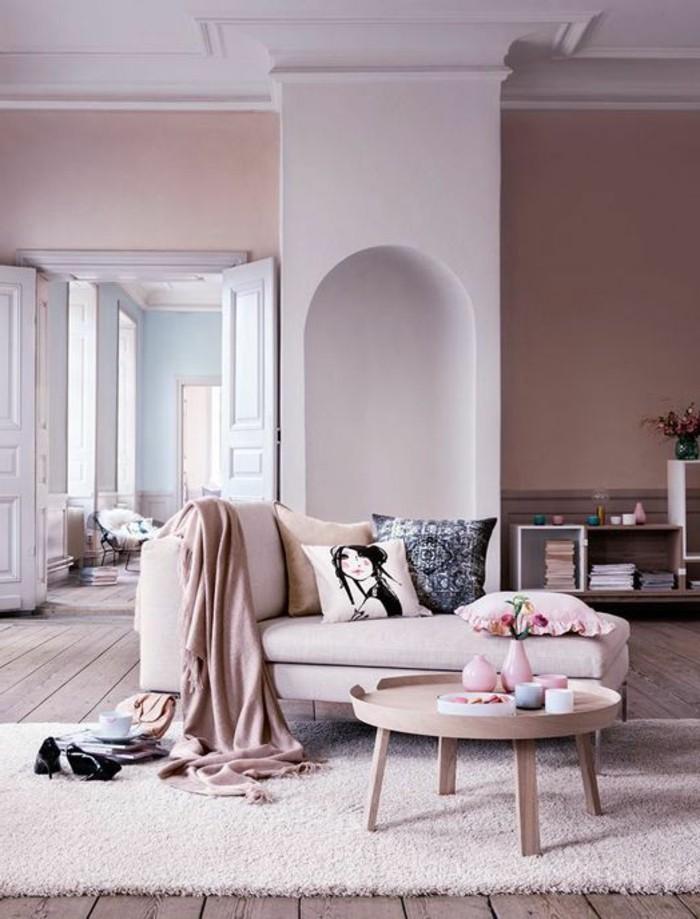 suggestion-extremement-elegante-couleur-peinture-salon-rose-canape-dans-la-meme-gamme-petite-table-en-bois-deco-sympa