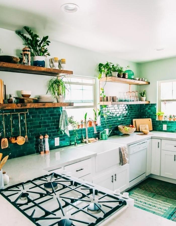 Couleur peinture cuisine 66 id es fantastiques for Peinture verte cuisine