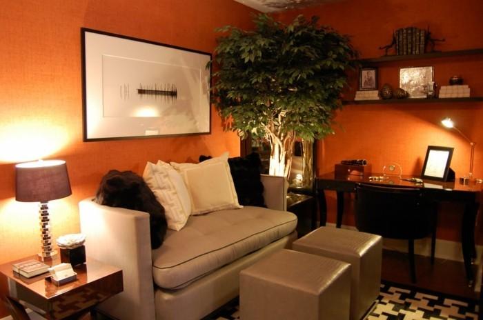 couleur-peinture-salon-orange-canape-gris-coin-travail-grande-plante-ambiance-romantique