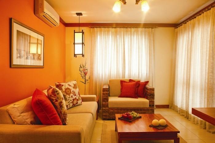 couleur-peinture-salon-orange-et-jaune-salon-très-accueillant