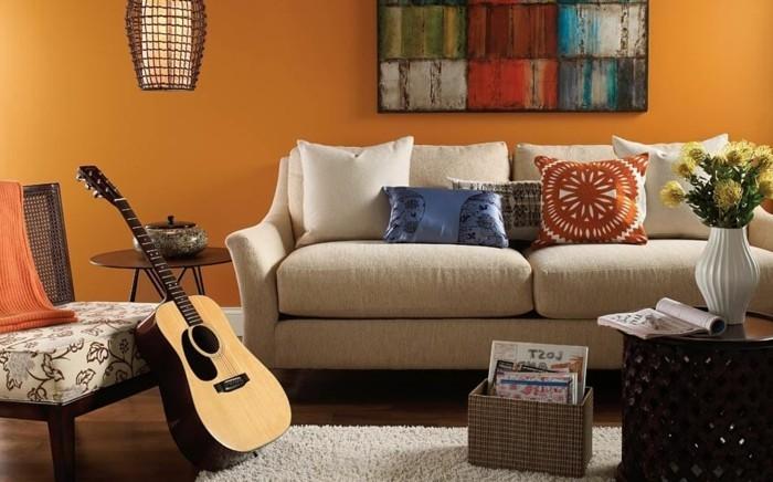 solutions-tres-creative-couleur-peinture-salon-orange-esprit-artistique-qui-incite-a-la-reverie