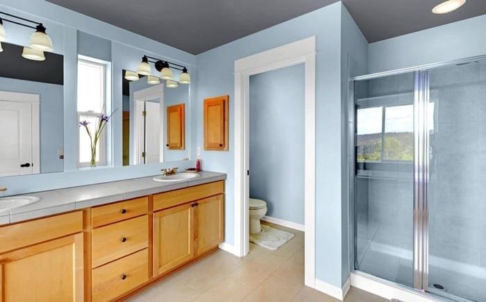 sublime-suggestion-couleur-salle-de-bain-bleu-clair-cabine-de-douche-douvle-vasque-à-encastrer-meuble-salle-de-bain-en-bois-miroirs-encastrés-sans-encadrement